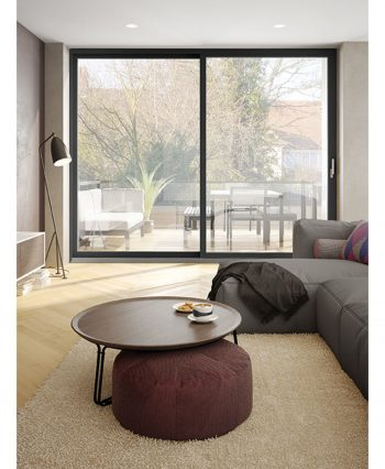 Image of living room with patio access through loft aluminum patio door